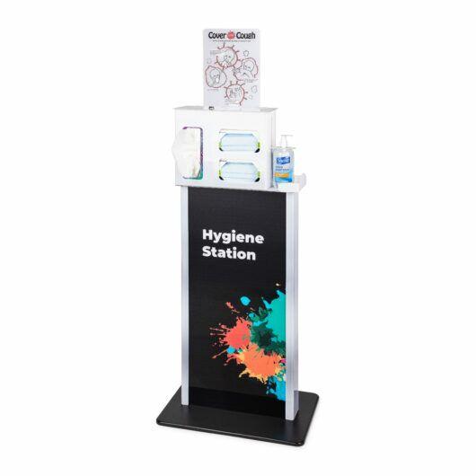 FlexiStore Dispenser Kiosk Splash with Locking Cover Your Cough Respiratory Hygiene Station White