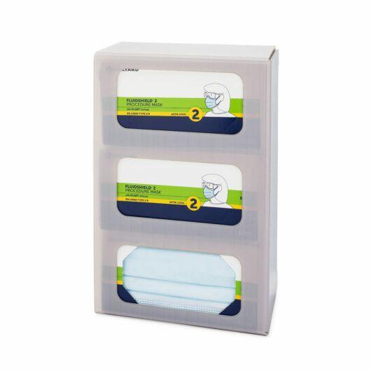 FlexiStore Enclosed Flex Fill Earloop Face Mask Dispenser 3 Box Cloud