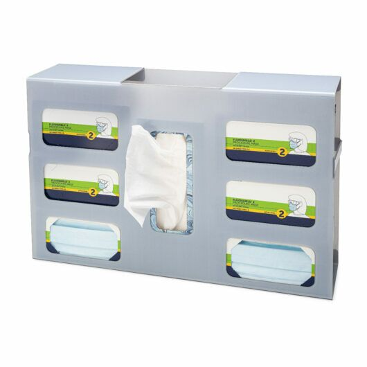 FlexiStore Side Fill Earloop Face Mask + Tissue Dispenser – 6 Box + 1 Tissue Ice Gray